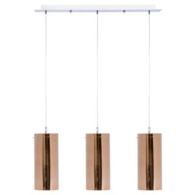 Lámpara de colgar Vidrio y Metal Tubo Cobre 3L Cobre