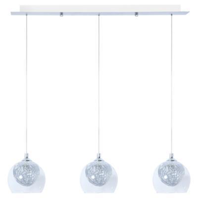Lámpara de colgar Vidrio y metal Bola Alambre Transparente y Gris