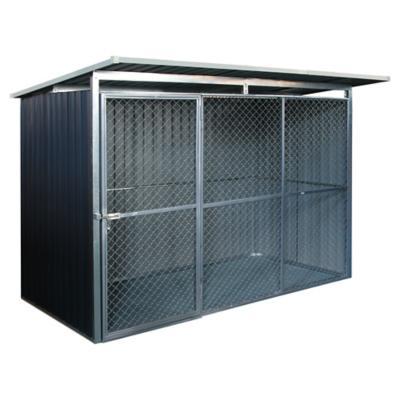 Canil exterior para perros 183x250x160 cm de acero gris