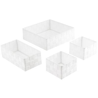 Set de canastos 26x8,5x26 cm 4 unidades blanco