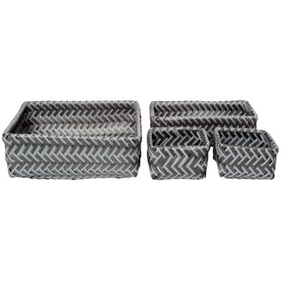 Set de canastos 26x8,5x26 cm 4 unidades gris