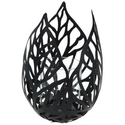 Portavela metal Hojas 16,5x21 cm