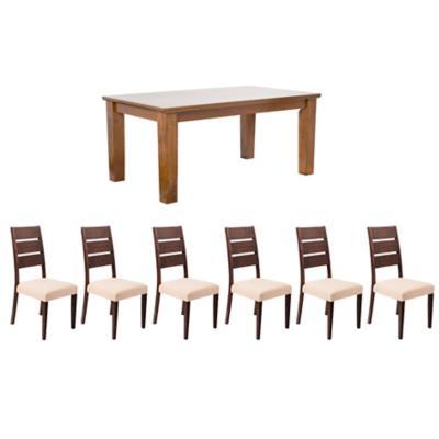Juego de comedor Rich + 6 sillas Akita roble