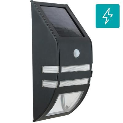 Apliqué exterior led solar con sensor acero negro