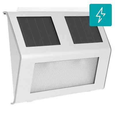 Apliqué led solar acero gris