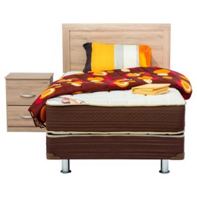 Cama americana Lumbar, 1 plaza, con respaldo Alpina, 1 velador Alpina y textil