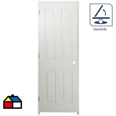 Puerta Lista HDF 6 Paneles Precolgada apertura izquierda 70 x 200cm
