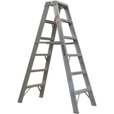 Escala tijera aluminio 2 accesos 6 peldaños  1.82 m Resistencia 170 kg