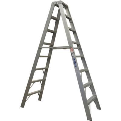 Escala tijera aluminio 2 accesos 8 peldaños  2.43 m Resistencia 170 kg