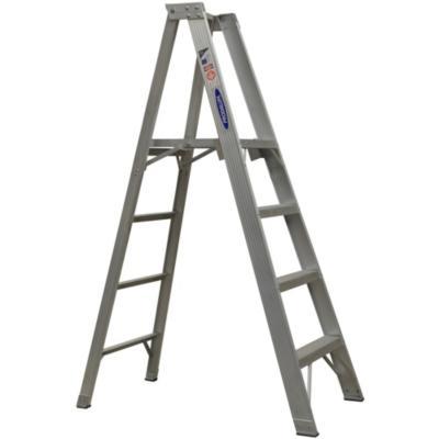 Escala tijera aluminio con plataforma 6 peldaños  1.82 m Resistencia 170 kg