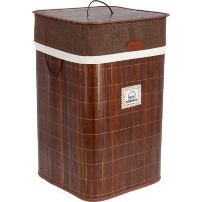 Cesto para ropa bambú plegable rectangular 34x34x57 cm café