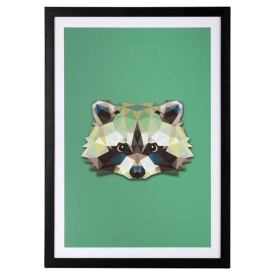 Cuadro 50x35 cm Raccoon Madera negro