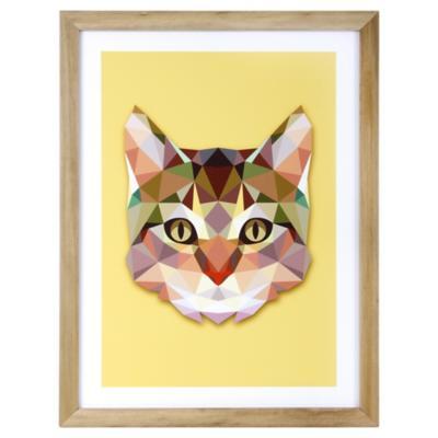 Lámina enmarcada 40x30 cm Yellow Cat negro
