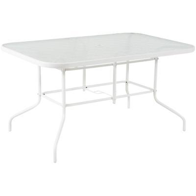 Mesa rectangular 140x90 cm con vidrio blanca