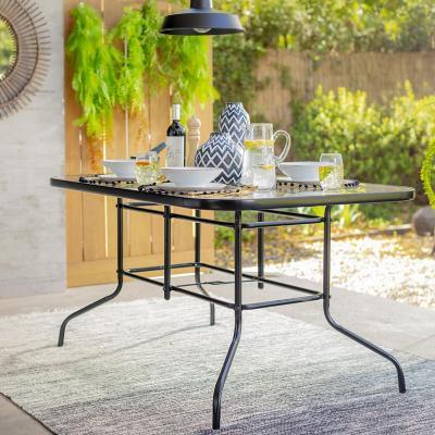 Mesa rectangular 140x90 cm con vidrio negra