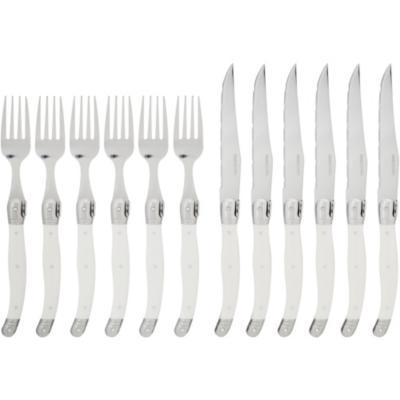 Juego de cubiertos acero inoxidable 12 piezas blanco