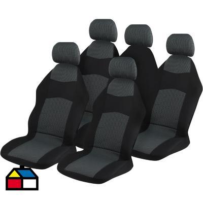 Kit de fundas asientos + chalecos poliéster negro 8 piezas