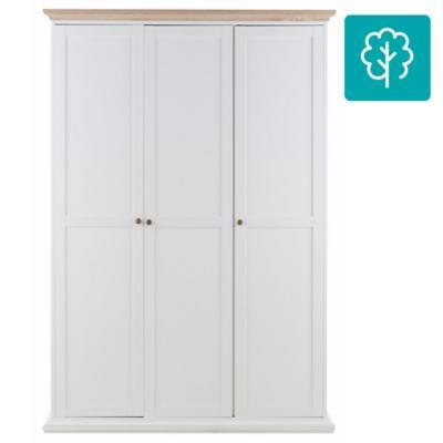Clóset 3 puertas sin cajon 139x61x200 blanco/oak
