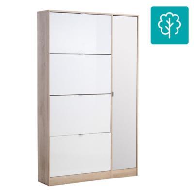 Zapatera 1 puerta 4 cajones 102x24x164  blanco/oak