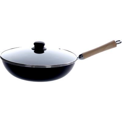 Wok antiadherente 30 cm negro con tapa
