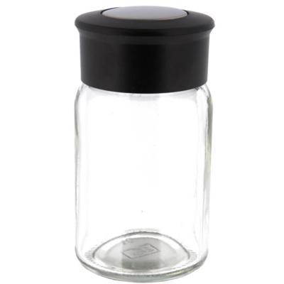 Especiero de vidrio redondo con tapa negro