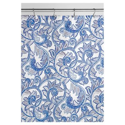 Cortina de baño Mosaico poliéster 183x183 cm azul