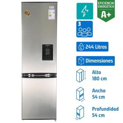 Refrigerador frío directo bottom freezer 244 litros inox