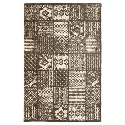 Alfombra Kelim mosaico 140x200 cm gris
