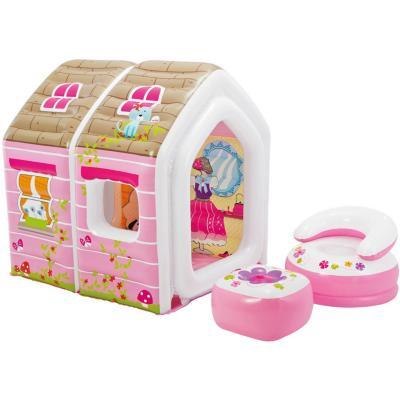 Casa inflable plástico rosado 2 niños