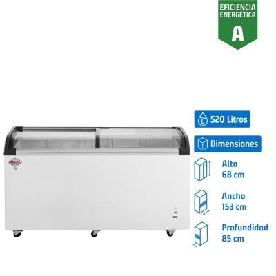 Congelador industrial horizontal 520 litros blanco