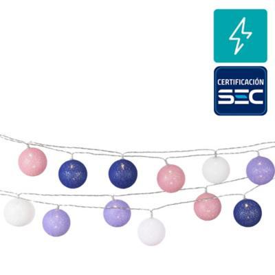 Guirnalda eléctrica bola azul y roja 24 luces led