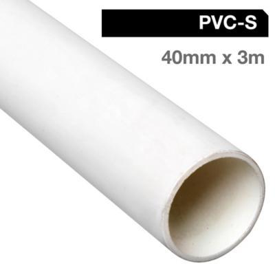 Tubo PVC-S 40mm x 3m  Blanco c/Goma