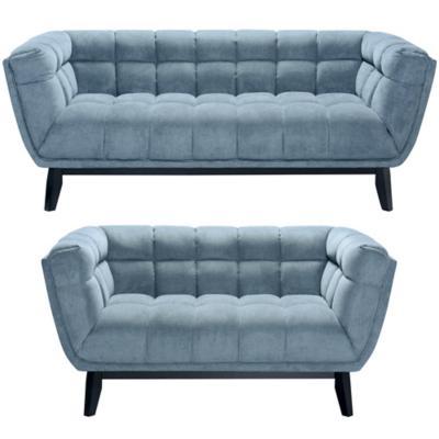 Juego de living sofá 3 cuerpos + 2 cuerpos azul