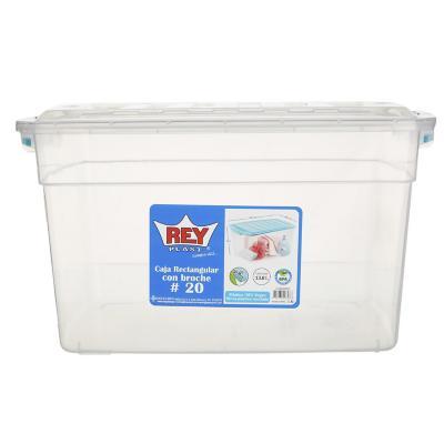 Caja organizadora 14 litros 20,5x28x36 cm transparente con broche