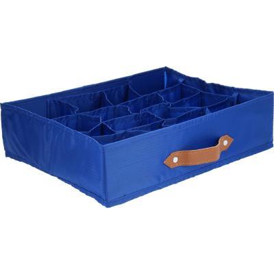 Caja organizadora tela 12 espacios 35x27x9 cm azul