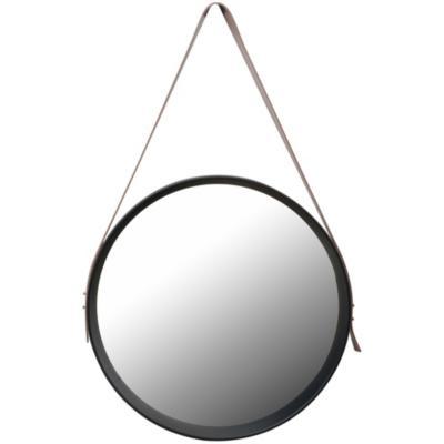 Espejo circular 40x40 cm con correa negro