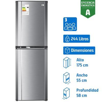 Refrigerador frío directo bottom freezer 244 litros gris