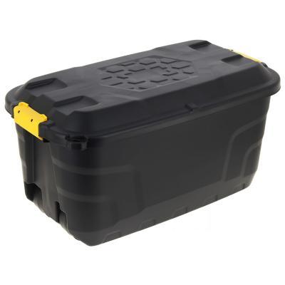 Caja con asa y ruedas 75 litros negro