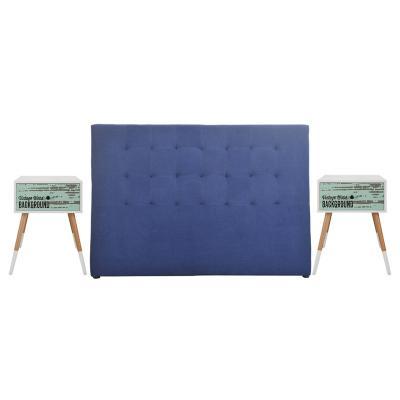 Combo Respaldo cama azul + 2 Veladores