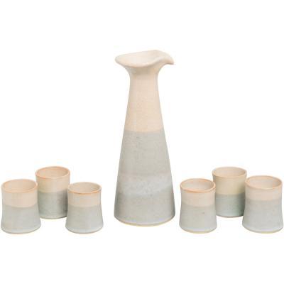 Juego pisco sour de jarra + 6 vasos cerámica gris