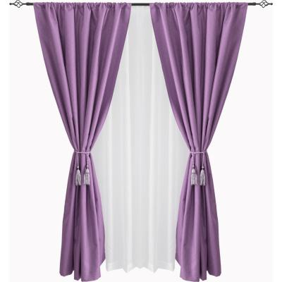 Combo cortina black-out + velo 140x220cm morado