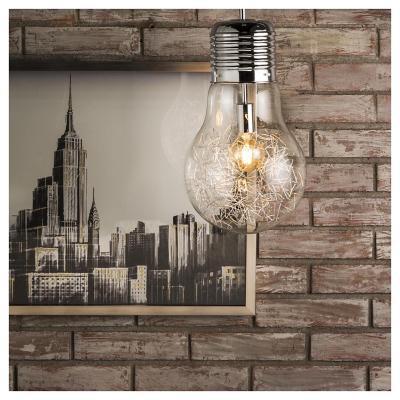 Lámpara de colgar Metal y vidrio Bulb Gris