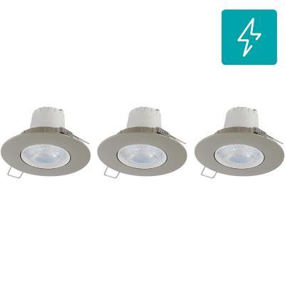 Set 3 unidades Spot LED empotrado 5,5 W luz cálida Satinado