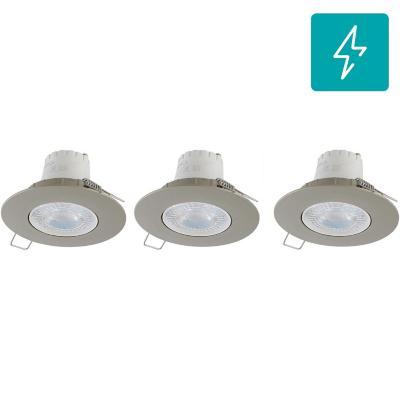 Set 3 unidades Spot LED empotrado 5,5 W luz fría Satinado