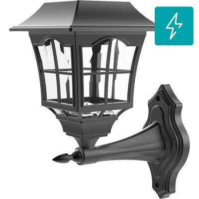 Farol solar LED negro