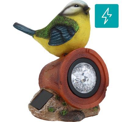 Pájaro solar decorativo de poliresina 17 cm