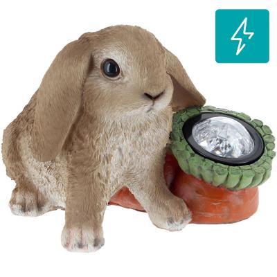 Conejo solar decorativo de poliresina 15 cm