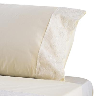 Juego de sábanas Broderie flores 200 hilos beige 1,5 plazas