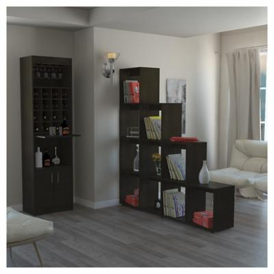 Combo mueble de bar + biblioteca escalera madera wengué