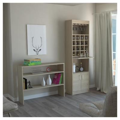 Combo mueble de bar + arrimo madera Rovere
